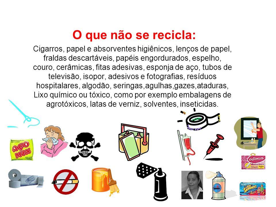 O que não se recicla: Cigarros, papel e absorventes higiênicos, lenços de papel, fraldas descartáveis, papéis engordurados, espelho, couro, cerâmicas,