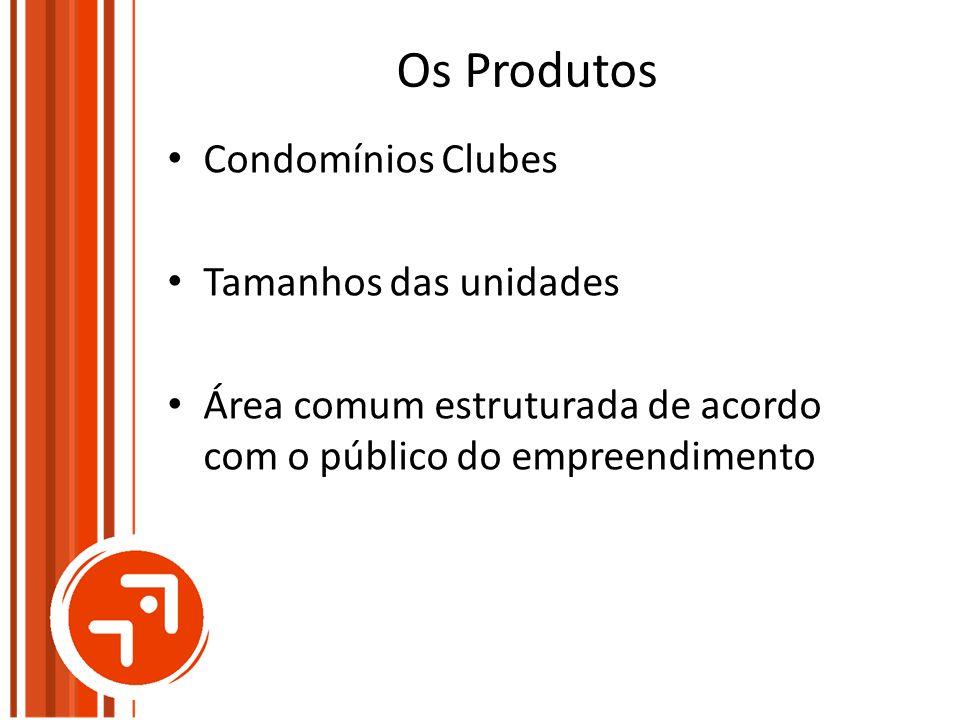Os Produtos Condomínios Clubes Tamanhos das unidades Área comum estruturada de acordo com o público do empreendimento