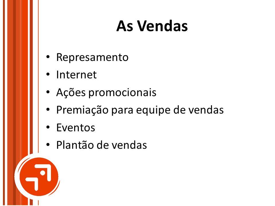 As Vendas Represamento Internet Ações promocionais Premiação para equipe de vendas Eventos Plantão de vendas