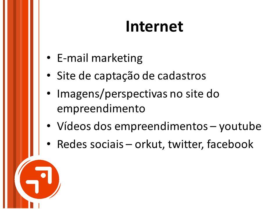Internet E-mail marketing Site de captação de cadastros Imagens/perspectivas no site do empreendimento Vídeos dos empreendimentos – youtube Redes soci