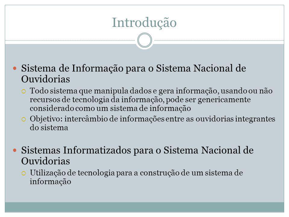 Introdução Sistema de Informação para o Sistema Nacional de Ouvidorias Todo sistema que manipula dados e gera informação, usando ou não recursos de te