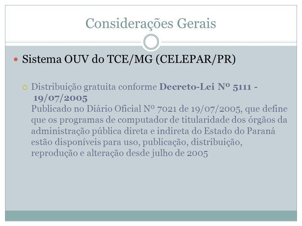 Considerações Gerais Sistema OUV do TCE/MG (CELEPAR/PR) Distribuição gratuita conforme Decreto-Lei Nº 5111 - 19/07/2005 Publicado no Diário Oficial Nº