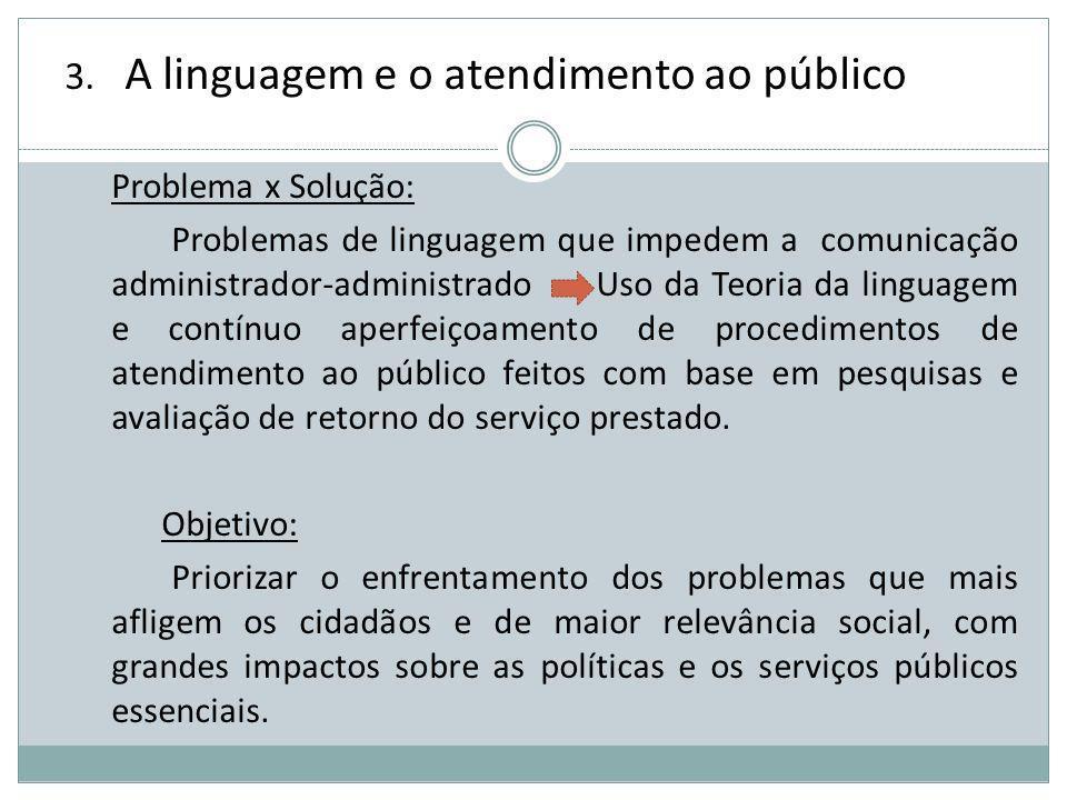 3. A linguagem e o atendimento ao público Problema x Solução: Problemas de linguagem que impedem a comunicação administrador-administrado Uso da Teori