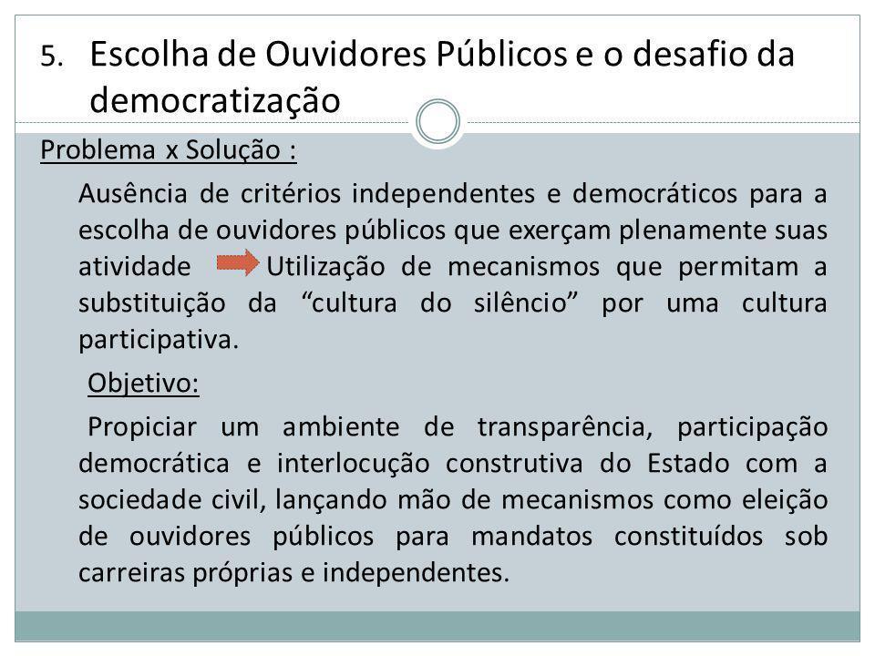 5. Escolha de Ouvidores Públicos e o desafio da democratização Problema x Solução : Ausência de critérios independentes e democráticos para a escolha