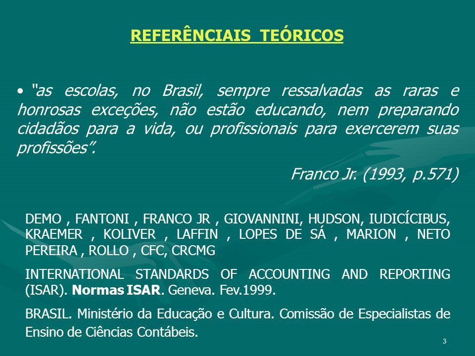 3 REFERÊNCIAIS TEÓRICOS as escolas, no Brasil, sempre ressalvadas as raras e honrosas exceções, não estão educando, nem preparando cidadãos para a vid