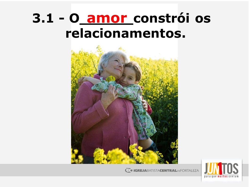 3.1 - O______constrói os relacionamentos. amor