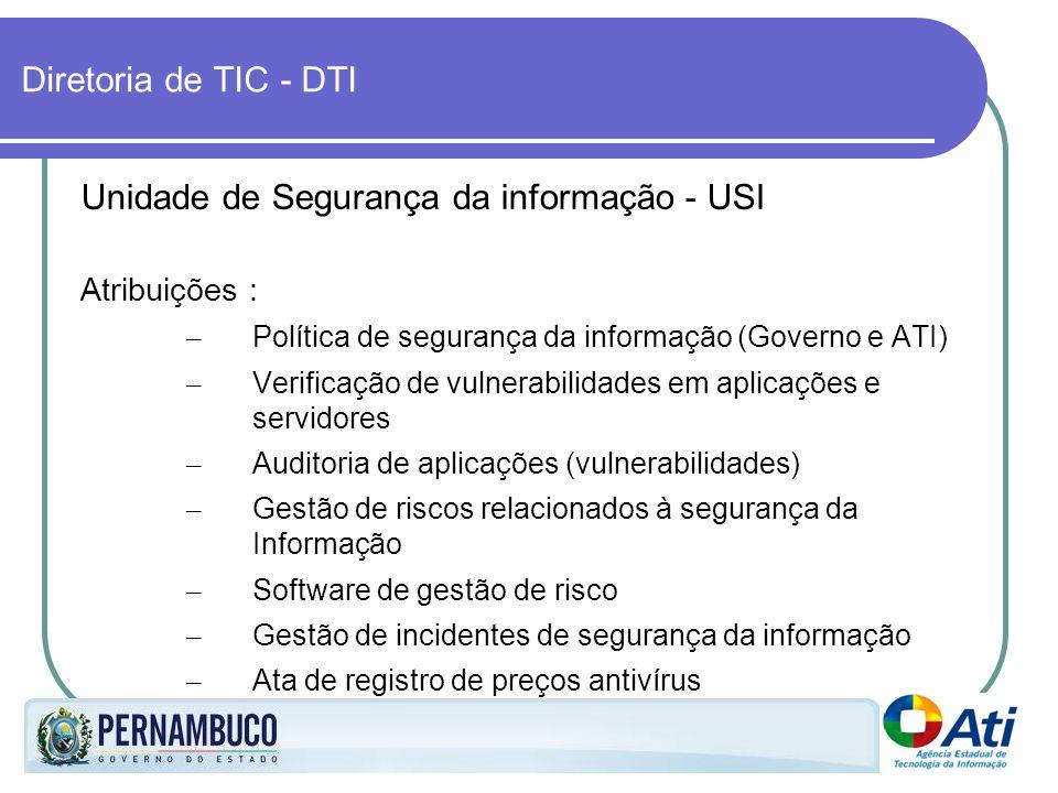 Diretoria de TIC - DTI Unidade de Segurança da informação - USI Atribuições : – Política de segurança da informação (Governo e ATI) – Verificação de v