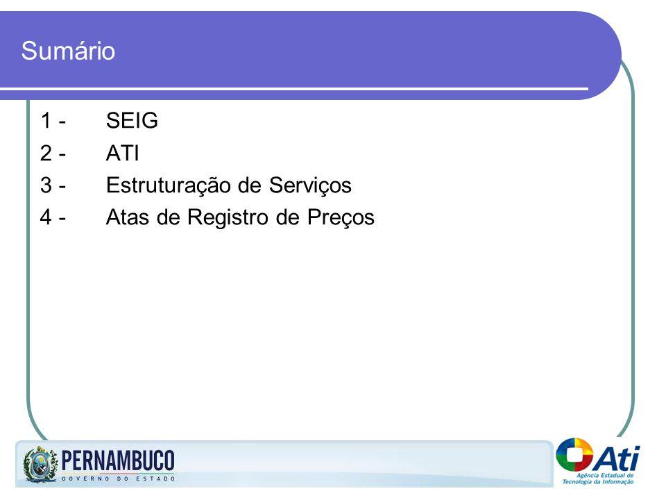 Sumário 1 - SEIG 2 - ATI 3 -Estruturação de Serviços 4 - Atas de Registro de Preços