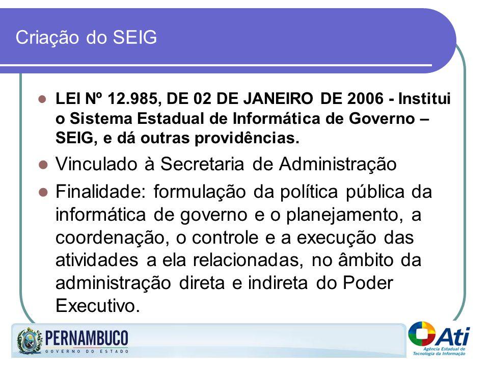 Criação do SEIG LEI Nº 12.985, DE 02 DE JANEIRO DE 2006 - Institui o Sistema Estadual de Informática de Governo – SEIG, e dá outras providências. Vinc