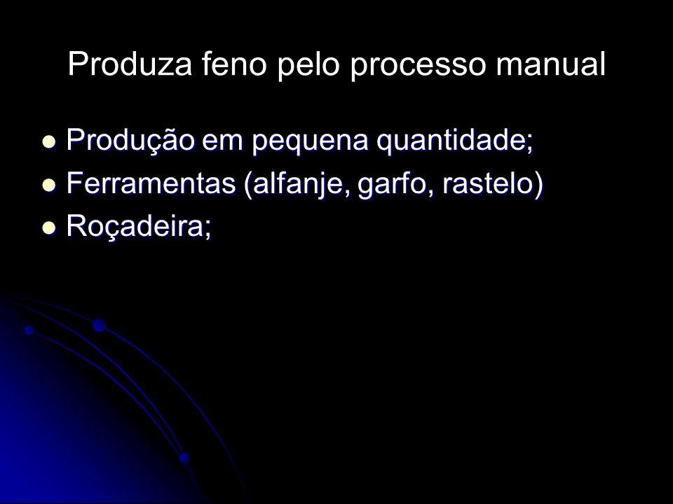 Produza feno pelo processo manual Produção em pequena quantidade; Produção em pequena quantidade; Ferramentas (alfanje, garfo, rastelo) Ferramentas (a