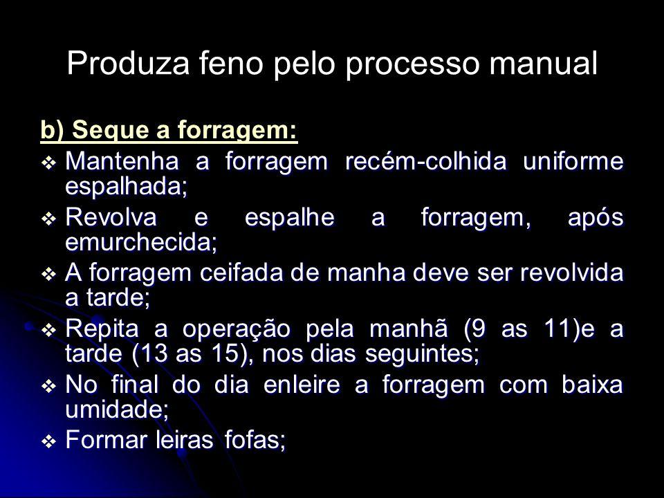 Produza feno pelo processo manual b) Seque a forragem: Mantenha a forragem recém-colhida uniforme espalhada; Mantenha a forragem recém-colhida uniform