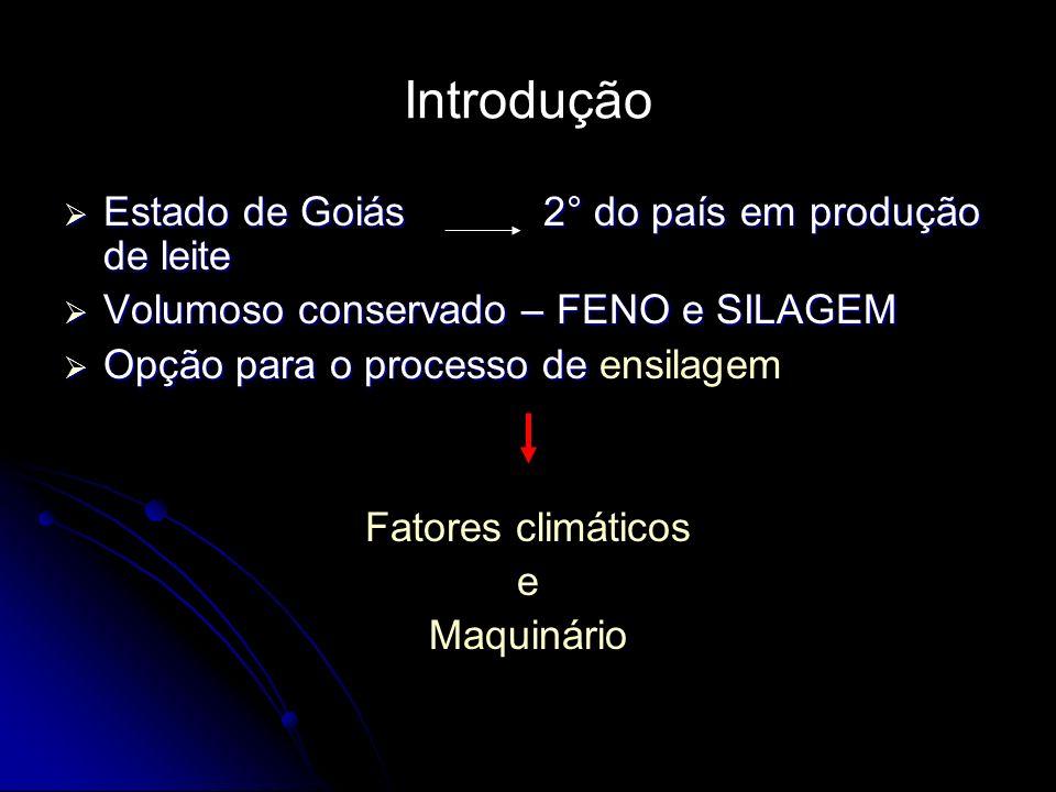 Introdução Estado de Goiás 2° do país em produção de leite Estado de Goiás 2° do país em produção de leite Volumoso conservado – FENO e SILAGEM Volumo