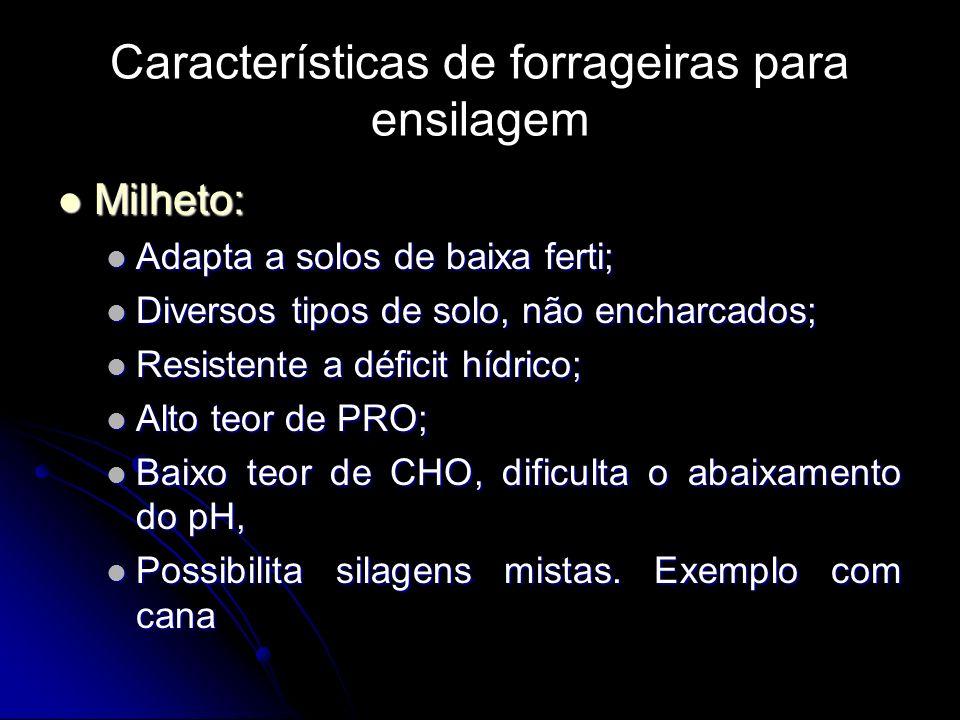 Características de forrageiras para ensilagem Milheto: Milheto: Adapta a solos de baixa ferti; Adapta a solos de baixa ferti; Diversos tipos de solo,