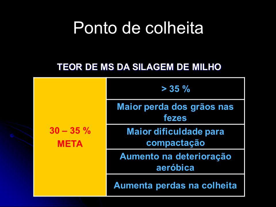 TEOR DE MS DA SILAGEM DE MILHO 30 – 35 % META > 35 % Maior perda dos grãos nas fezes Maior dificuldade para compactação Aumento na deterioração aeróbi