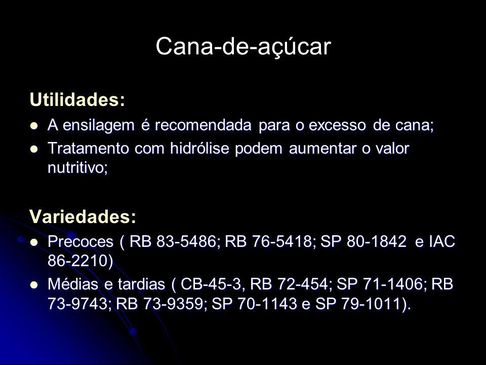 Cana-de-açúcar Utilidades: A ensilagem é recomendada para o excesso de cana; A ensilagem é recomendada para o excesso de cana; Tratamento com hidrólis