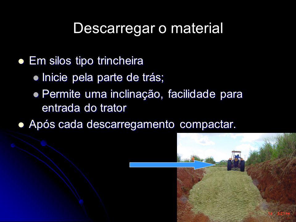 Descarregar o material Em silos tipo trincheira Em silos tipo trincheira Inicie pela parte de trás; Inicie pela parte de trás; Permite uma inclinação,