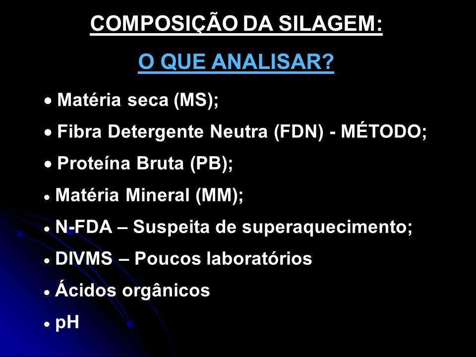 COMPOSIÇÃO DA SILAGEM: O QUE ANALISAR? Matéria seca (MS); Fibra Detergente Neutra (FDN) - MÉTODO; Proteína Bruta (PB); Matéria Mineral (MM); N-FDA – S
