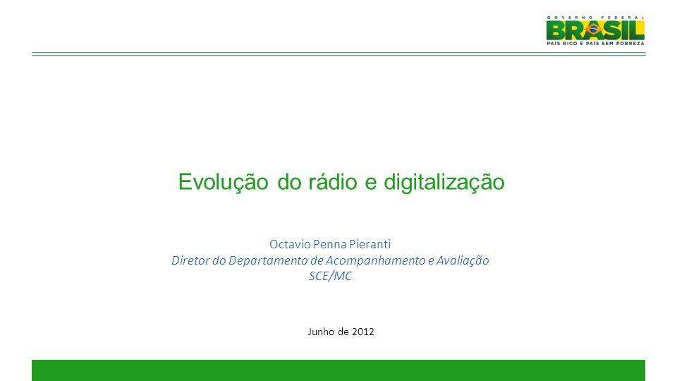 Evolução do rádio e digitalização Octavio Penna Pieranti Diretor do Departamento de Acompanhamento e Avaliação SCE/MC Junho de 2012