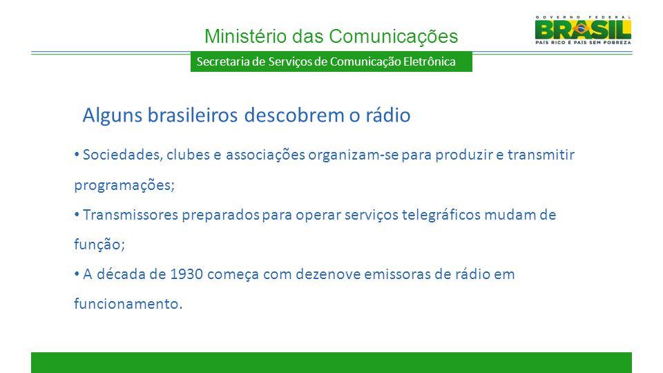 Secretaria de Serviços de Comunicação Eletrônica Sociedades, clubes e associações organizam-se para produzir e transmitir programações; Transmissores