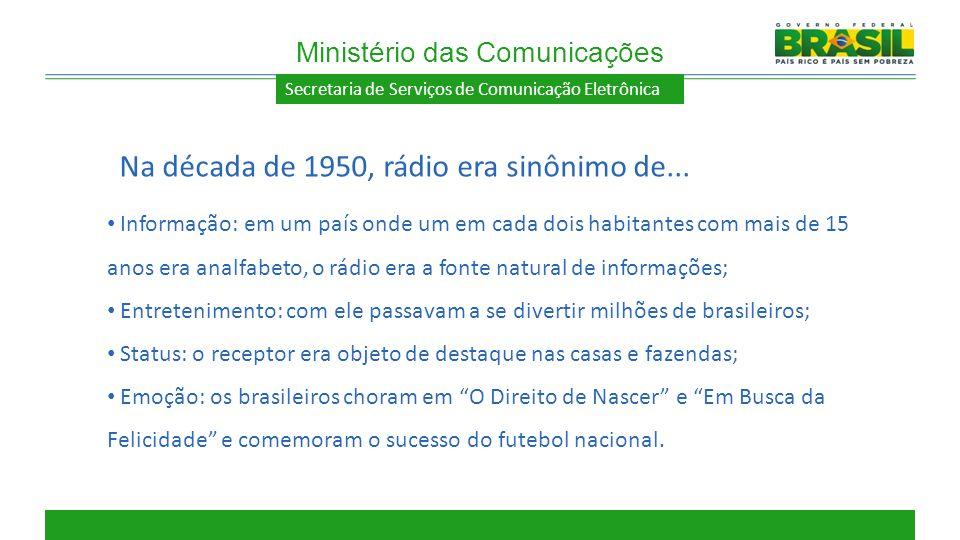 Secretaria de Serviços de Comunicação Eletrônica Informação: em um país onde um em cada dois habitantes com mais de 15 anos era analfabeto, o rádio er