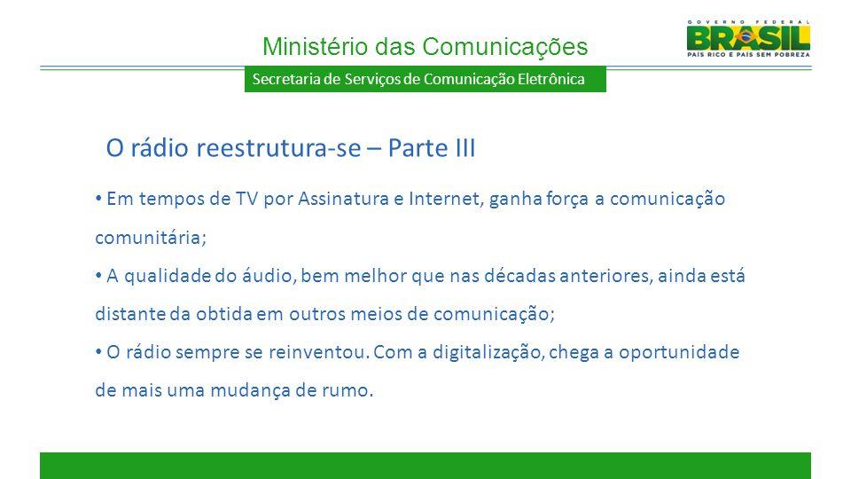 Secretaria de Serviços de Comunicação Eletrônica Em tempos de TV por Assinatura e Internet, ganha força a comunicação comunitária; A qualidade do áudi