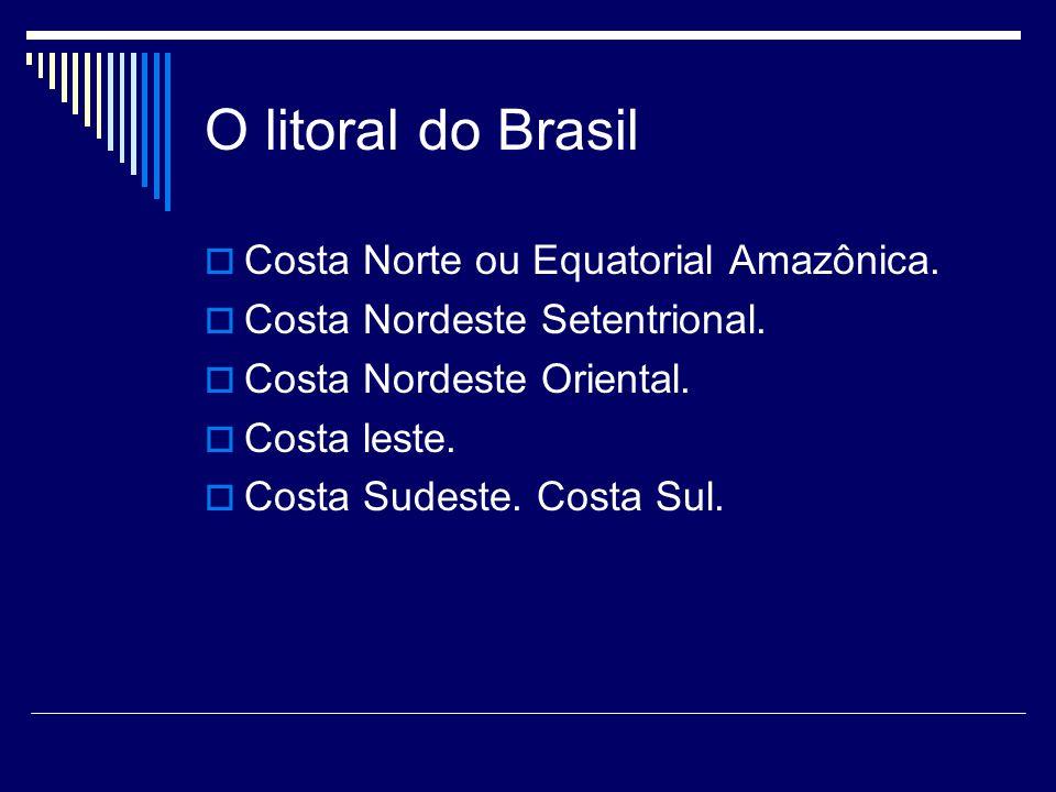 O litoral do Brasil Costa Norte ou Equatorial Amazônica. Costa Nordeste Setentrional. Costa Nordeste Oriental. Costa leste. Costa Sudeste. Costa Sul.