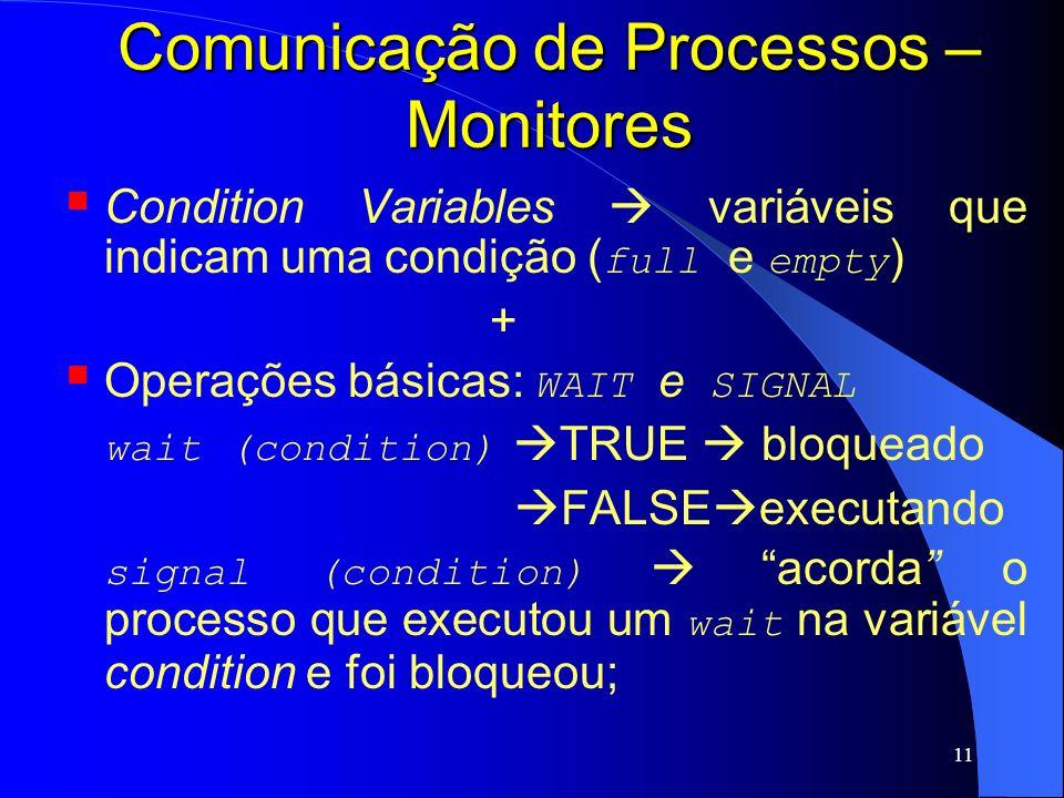 11 Comunicação de Processos – Monitores Condition Variables variáveis que indicam uma condição ( full e empty ) + Operações básicas: WAIT e SIGNAL wai