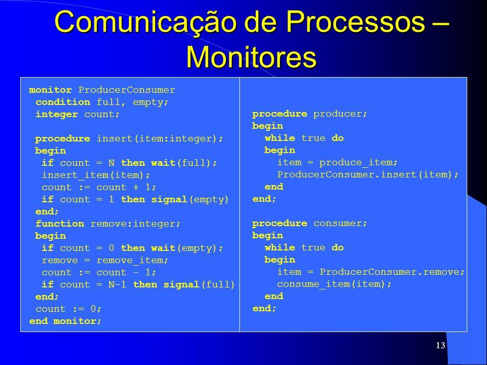 13 Comunicação de Processos – Monitores monitor ProducerConsumer condition full, empty; integer count; procedure insert(item:integer); begin if count
