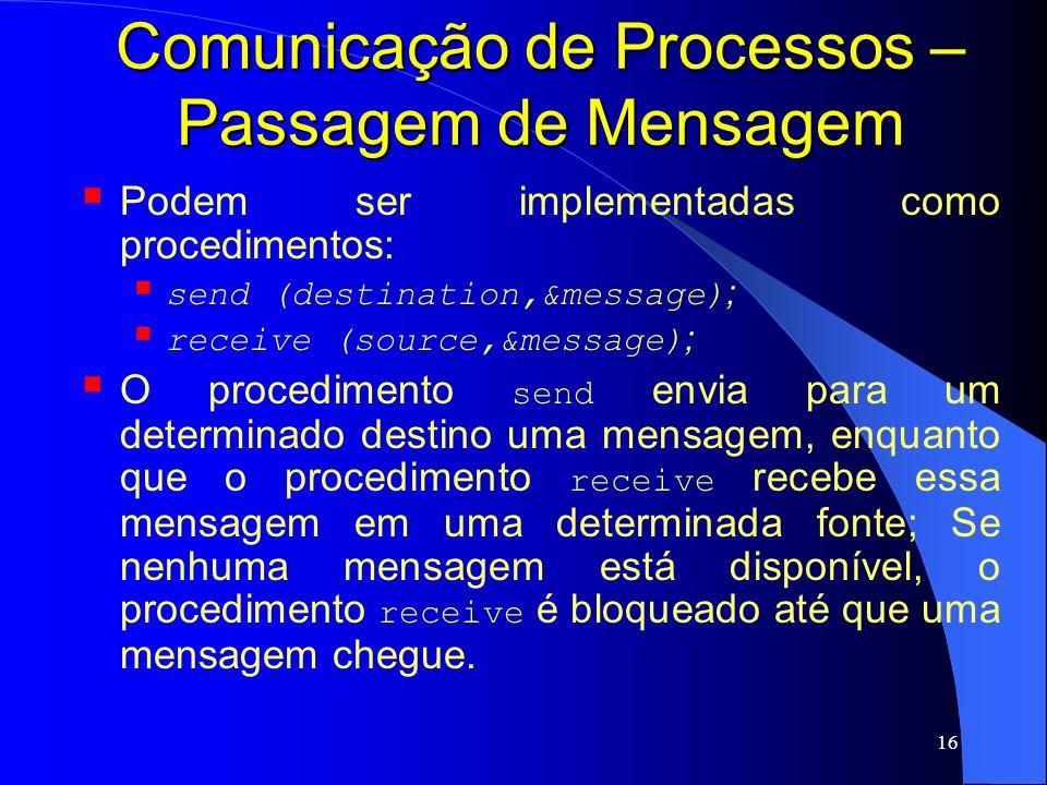 16 Comunicação de Processos – Passagem de Mensagem Podem ser implementadas como procedimentos: send (destination,&message) ; receive (source,&message)