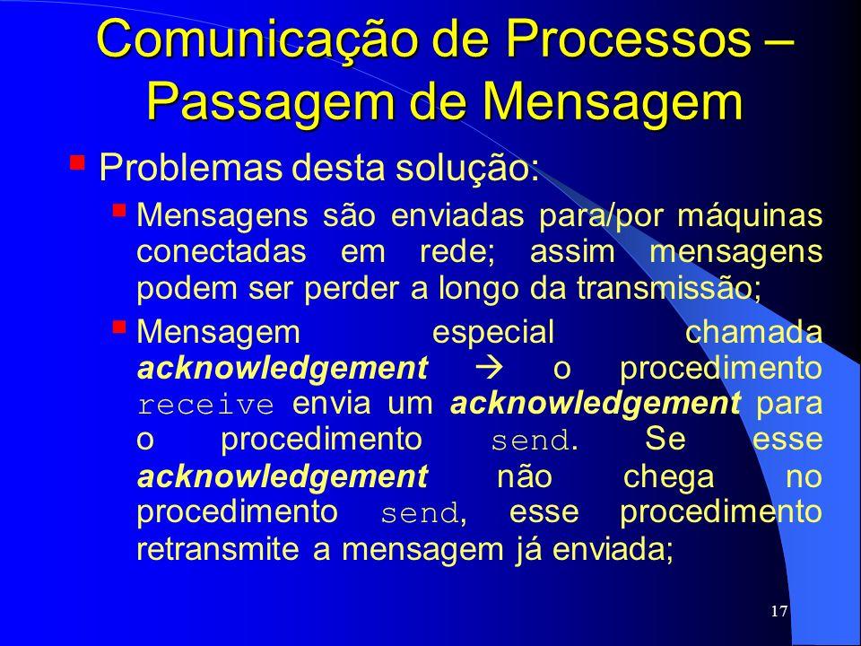 17 Comunicação de Processos – Passagem de Mensagem Problemas desta solução: Mensagens são enviadas para/por máquinas conectadas em rede; assim mensage