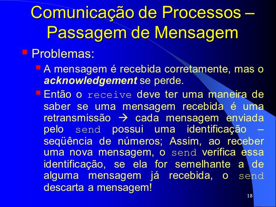18 Comunicação de Processos – Passagem de Mensagem Problemas: A mensagem é recebida corretamente, mas o acknowledgement se perde. Então o receive deve
