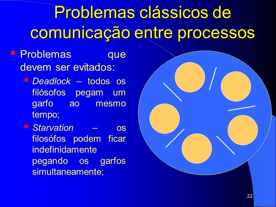 22 Problemas clássicos de comunicação entre processos Problemas que devem ser evitados: Deadlock – todos os filósofos pegam um garfo ao mesmo tempo; S