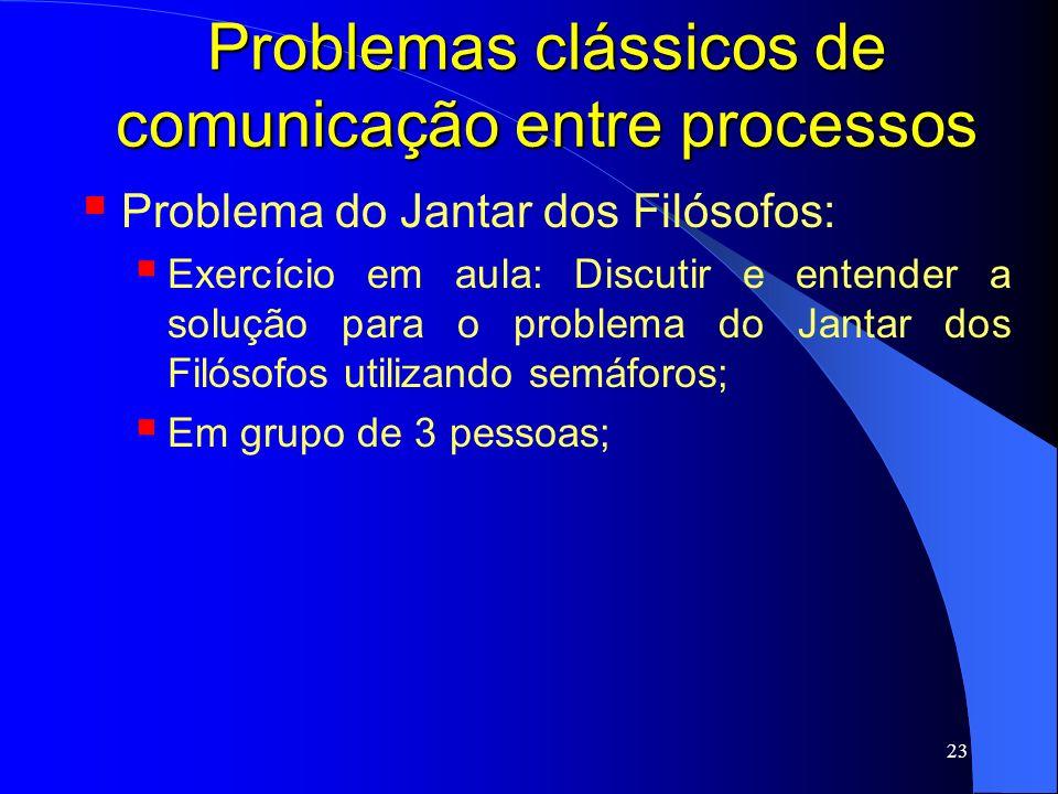 23 Problemas clássicos de comunicação entre processos Problema do Jantar dos Filósofos: Exercício em aula: Discutir e entender a solução para o proble