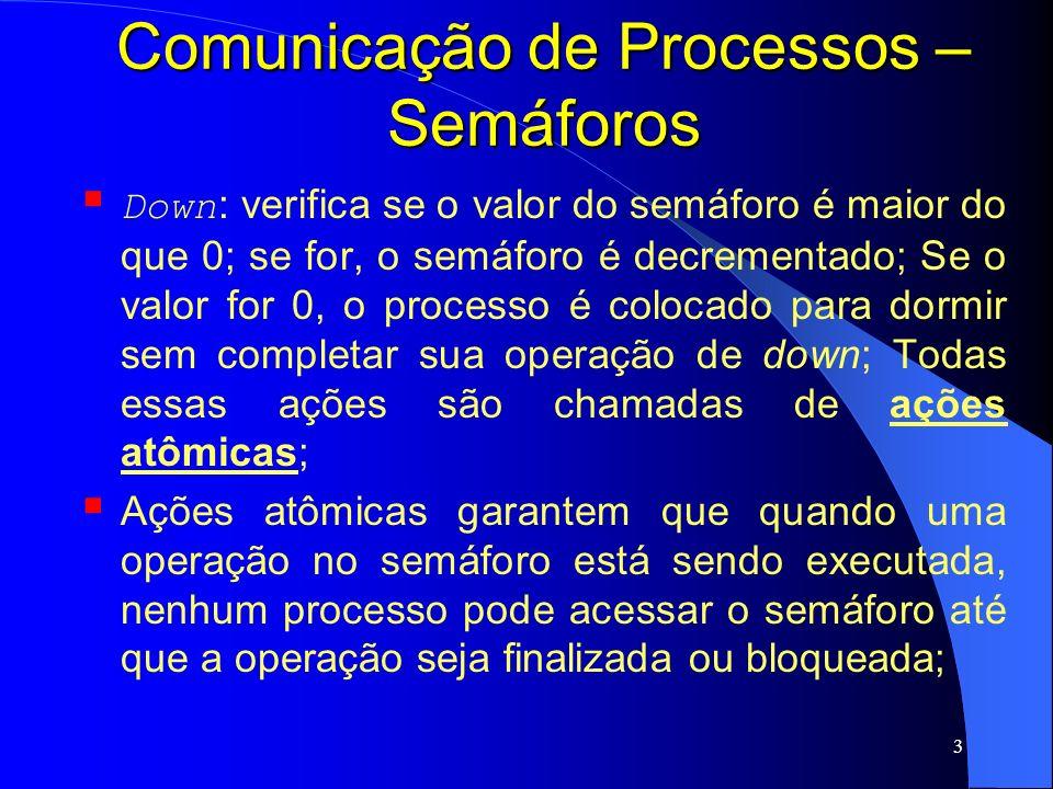 4 Comunicação de Processos – Semáforos Up : incrementa o valor do semáforo, fazendo com que algum processo que esteja dormindo possa terminar de executar sua operação down ;