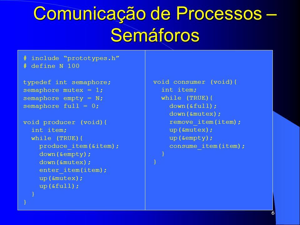 6 Comunicação de Processos – Semáforos # include prototypes.h # define N 100 typedef int semaphore; semaphore mutex = 1; semaphore empty = N; semaphor