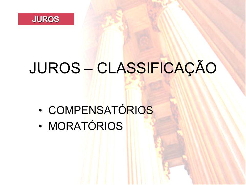 JUROS JUROS JUROS – CLASSIFICAÇÃO COMPENSATÓRIOS MORATÓRIOS