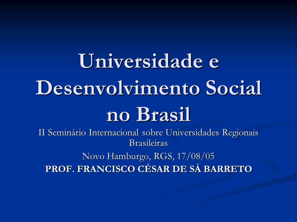 Universidade e Desenvolvimento Social no Brasil II Seminário Internacional sobre Universidades Regionais Brasileiras Novo Hamburgo, RGS, 17/08/05 PROF