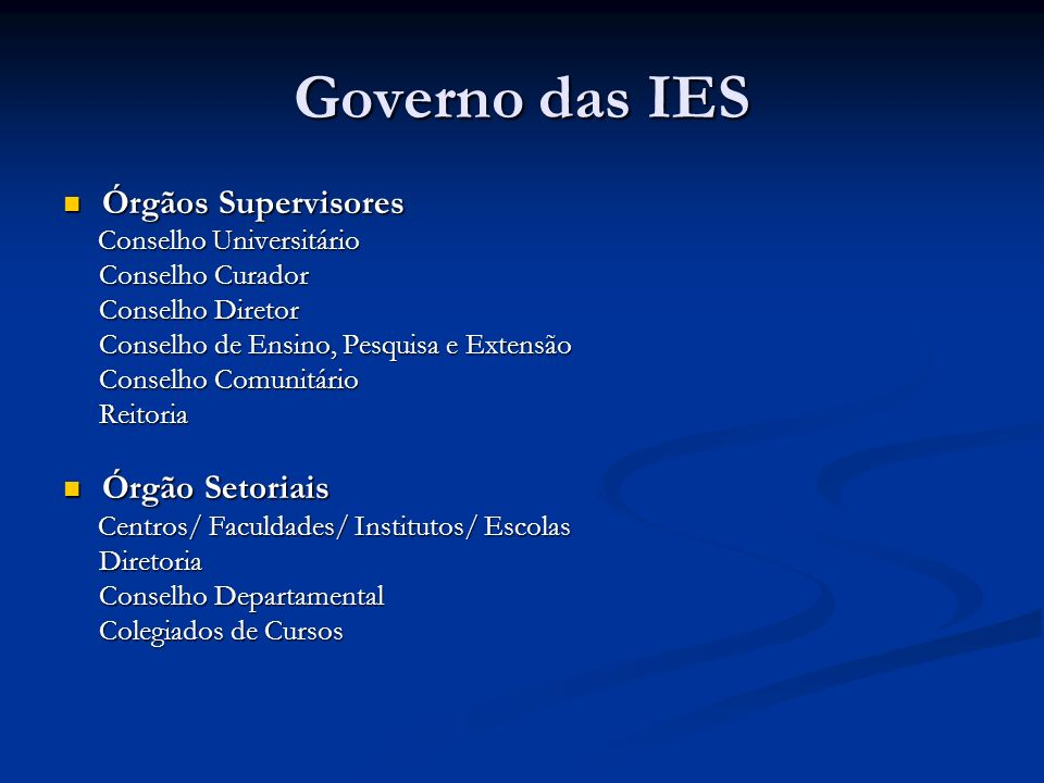 Governo das IES Órgãos Supervisores Órgãos Supervisores Conselho Universitário Conselho Universitário Conselho Curador Conselho Curador Conselho Diret