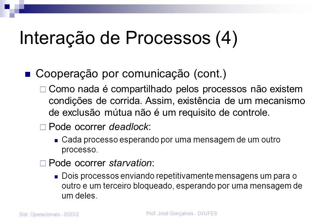 Prof. José Gonçalves - DI/UFES Sist. Operacionais - 2003/2 Interação de Processos (4) Cooperação por comunicação (cont.) Como nada é compartilhado pel