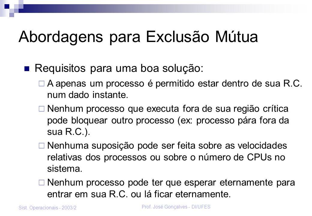 Prof. José Gonçalves - DI/UFES Sist. Operacionais - 2003/2 Abordagens para Exclusão Mútua Requisitos para uma boa solução: A apenas um processo é perm