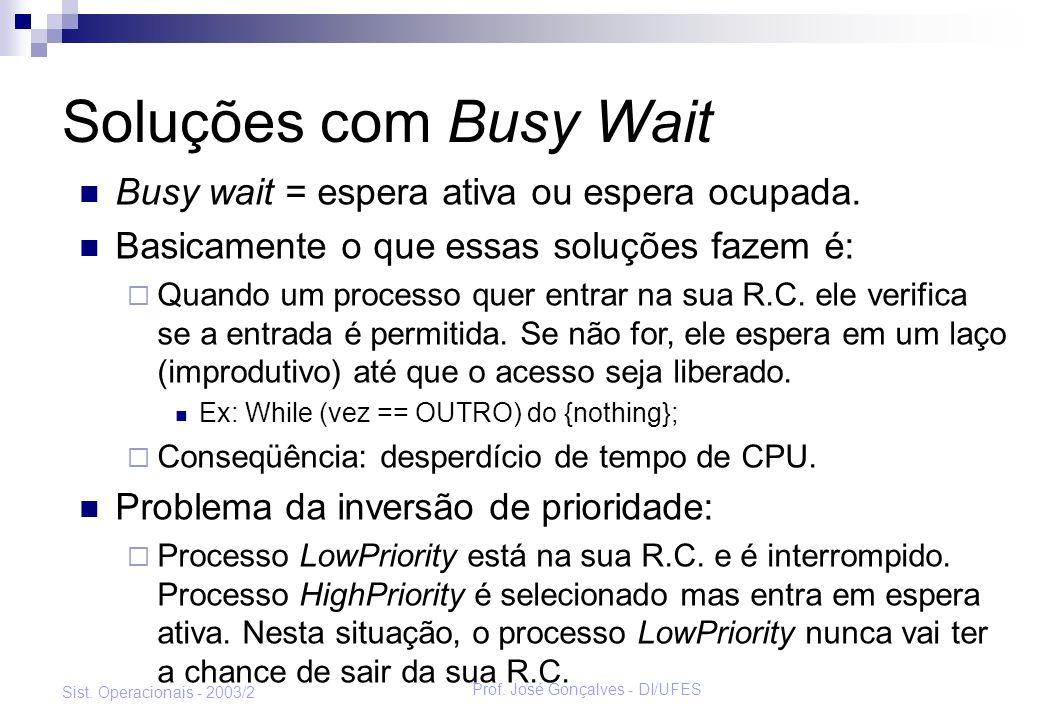 Prof. José Gonçalves - DI/UFES Sist. Operacionais - 2003/2 Soluções com Busy Wait Busy wait = espera ativa ou espera ocupada. Basicamente o que essas