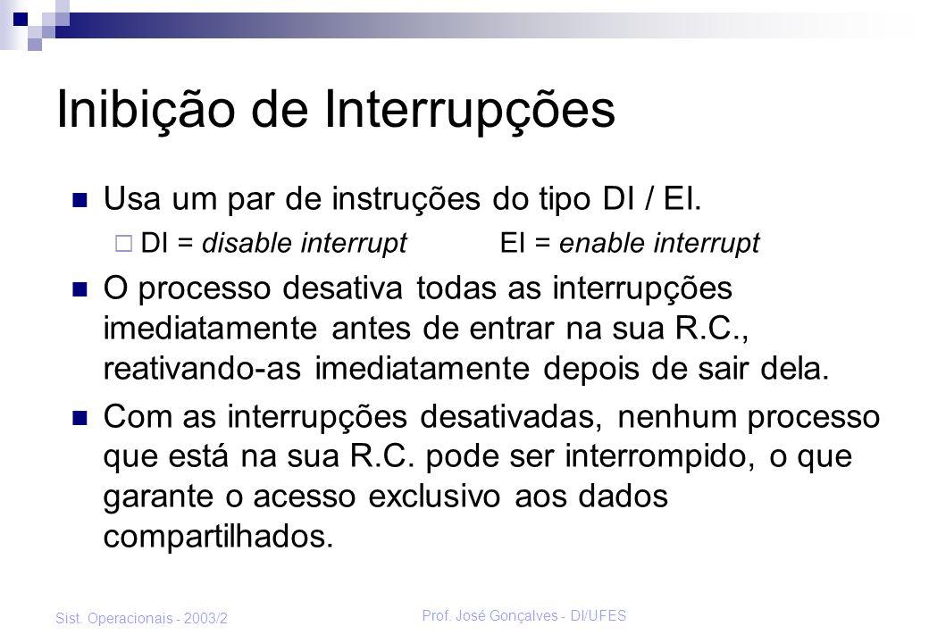 Prof. José Gonçalves - DI/UFES Sist. Operacionais - 2003/2 Inibição de Interrupções Usa um par de instruções do tipo DI / EI. DI = disable interrupt E