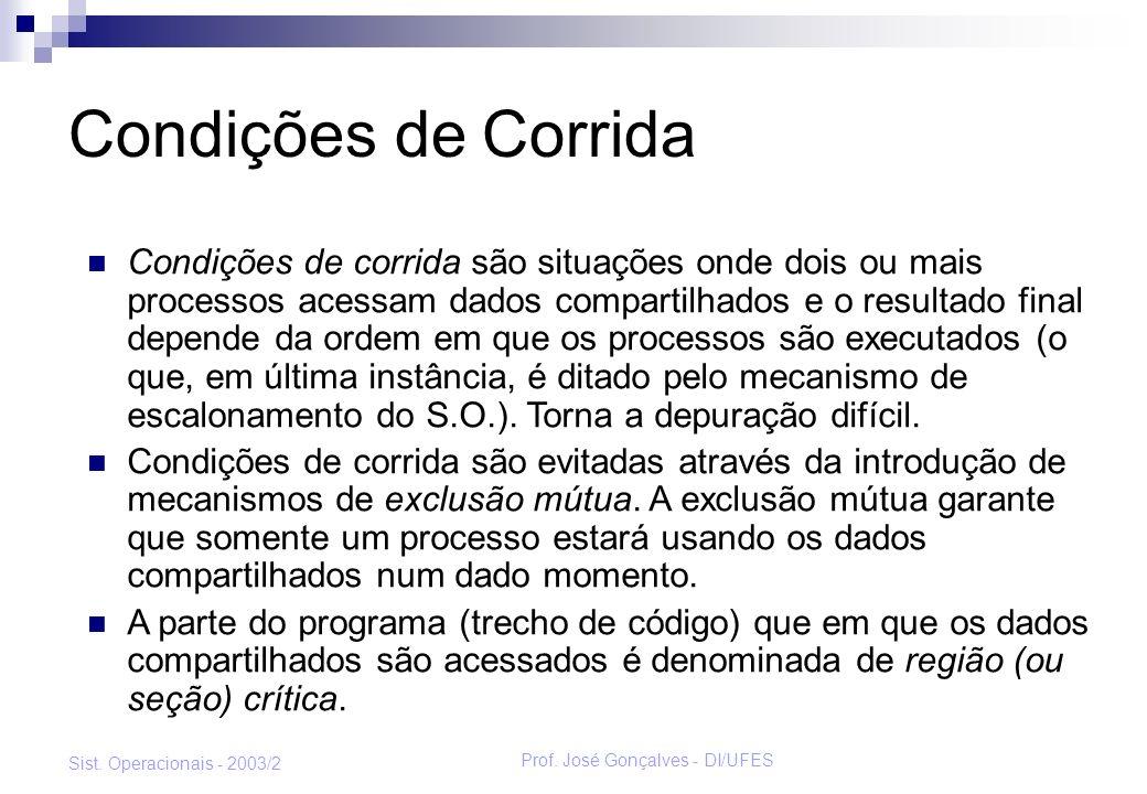 Prof. José Gonçalves - DI/UFES Sist. Operacionais - 2003/2 Condições de Corrida Condições de corrida são situações onde dois ou mais processos acessam