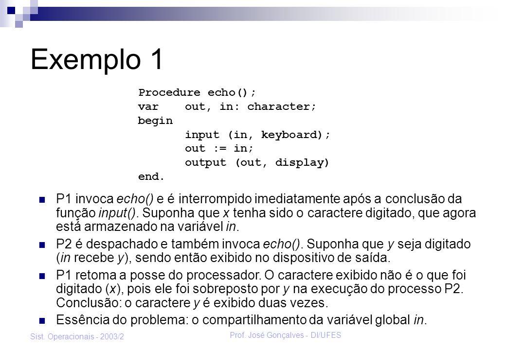 Prof. José Gonçalves - DI/UFES Sist. Operacionais - 2003/2 Exemplo 1 P1 invoca echo() e é interrompido imediatamente após a conclusão da função input(