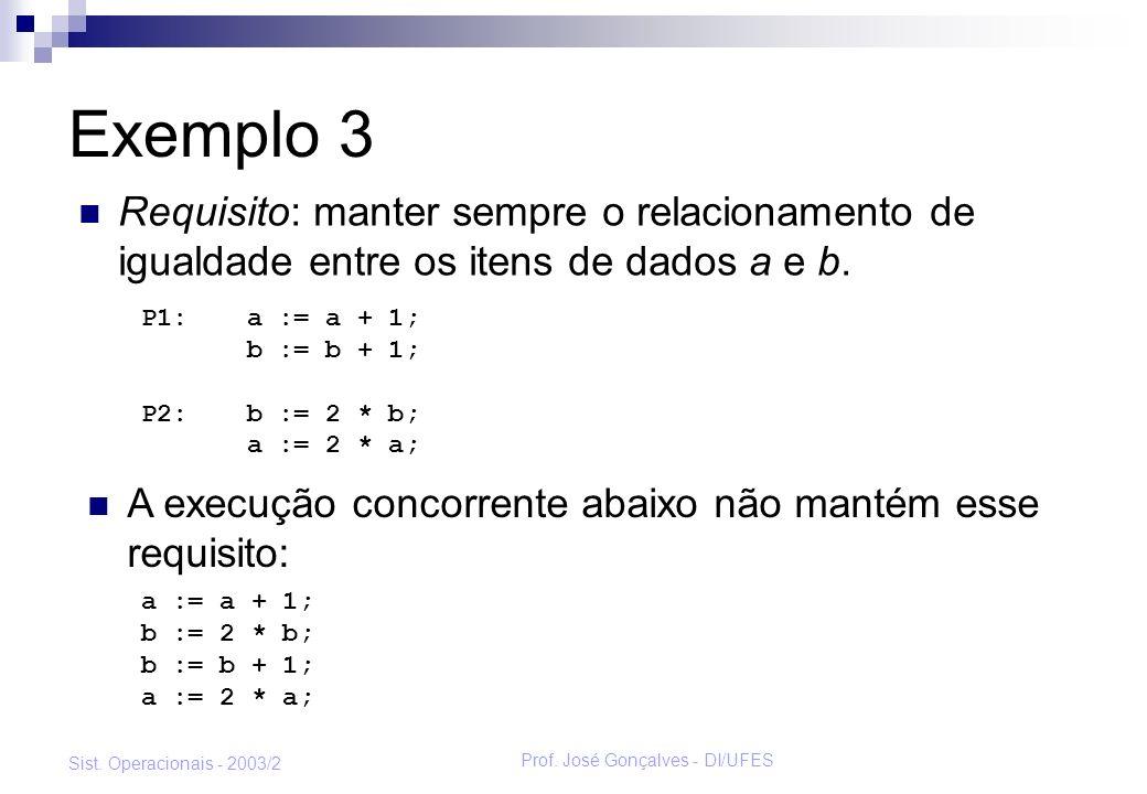 Prof. José Gonçalves - DI/UFES Sist. Operacionais - 2003/2 Exemplo 3 A execução concorrente abaixo não mantém esse requisito: P1:a := a + 1; b := b +