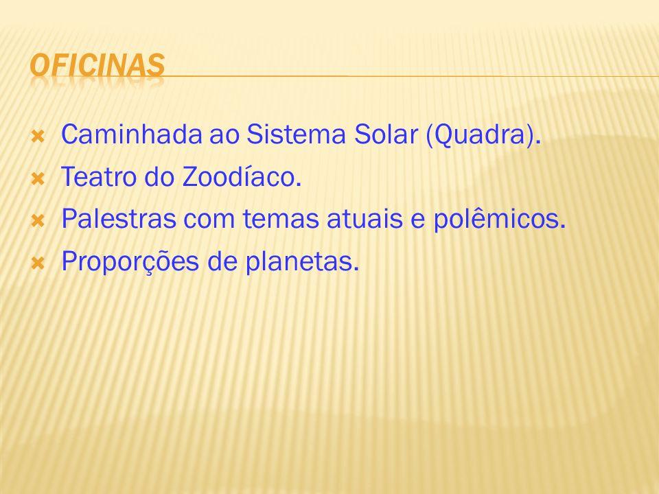 Caminhada ao Sistema Solar (Quadra). Teatro do Zoodíaco. Palestras com temas atuais e polêmicos. Proporções de planetas.