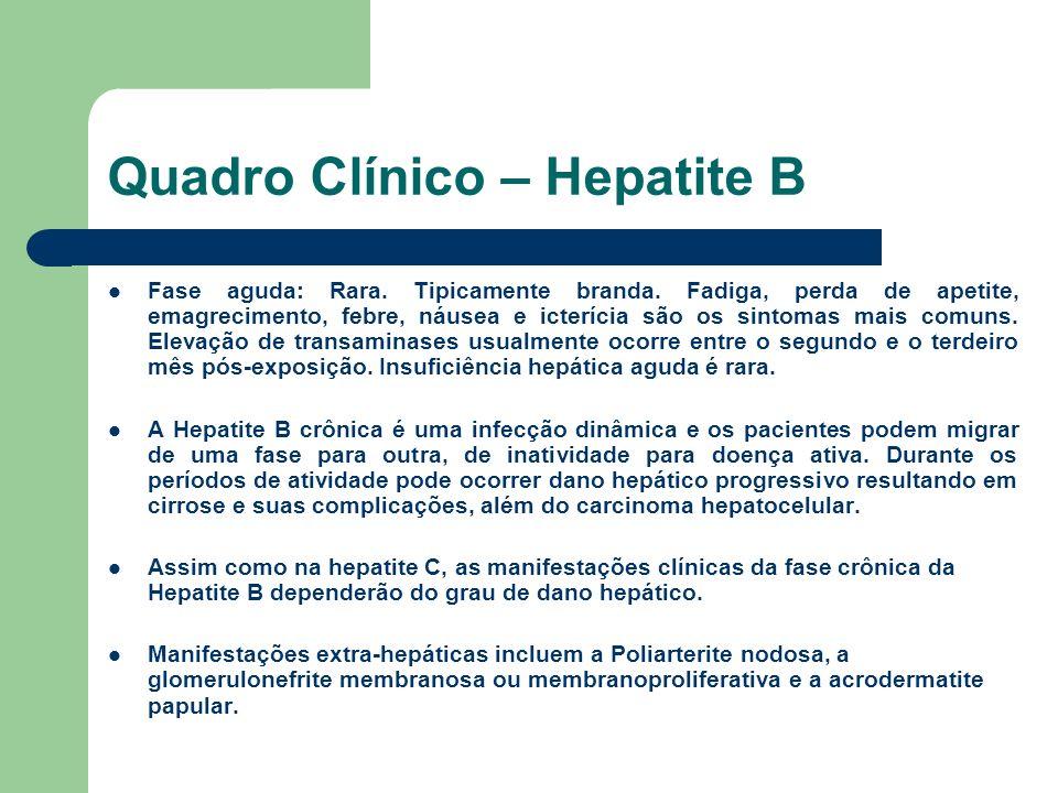 Quadro Clínico – Hepatite B Fase aguda: Rara. Tipicamente branda. Fadiga, perda de apetite, emagrecimento, febre, náusea e icterícia são os sintomas m