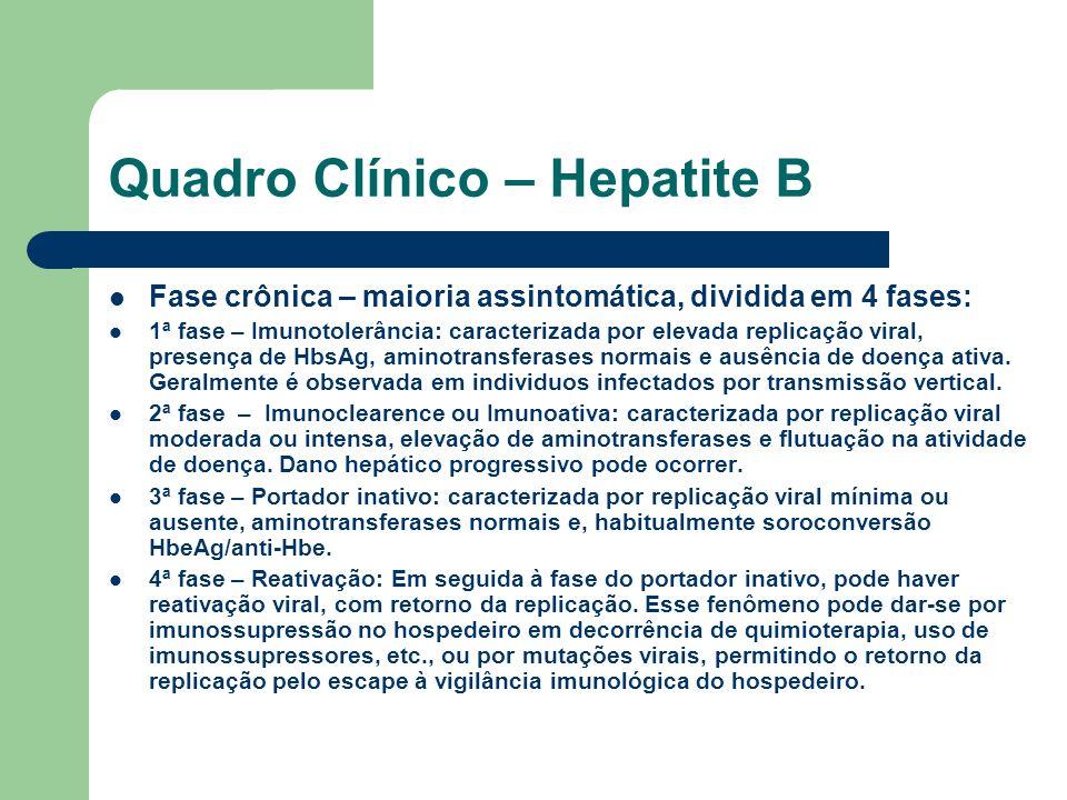 Quadro Clínico – Hepatite B Fase crônica – maioria assintomática, dividida em 4 fases: 1ª fase – Imunotolerância: caracterizada por elevada replicação