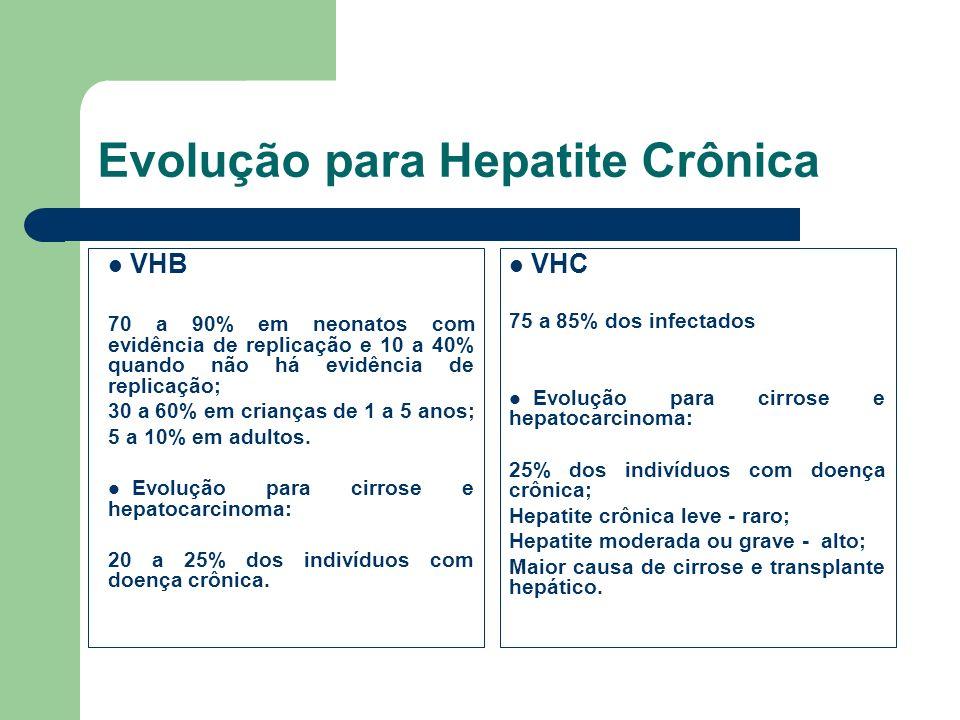Evolução para Hepatite Crônica VHB 70 a 90% em neonatos com evidência de replicação e 10 a 40% quando não há evidência de replicação; 30 a 60% em cria