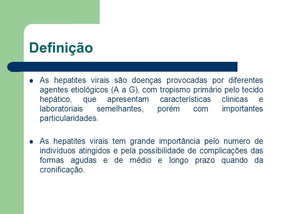 Definição As hepatites virais são doenças provocadas por diferentes agentes etiológicos (A a G), com tropismo primário pelo tecido hepático, que apres